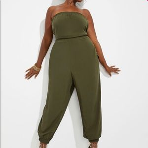 Ashley Stewart Strapless cargo Jumpsuit